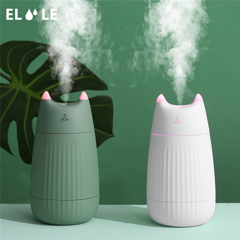 ELOOLE Cat Air Humidifier USB Ultrasonic Aromatherapy Diffuser Essential Oil Nebulisation For Car Home Mist Maker LED Light