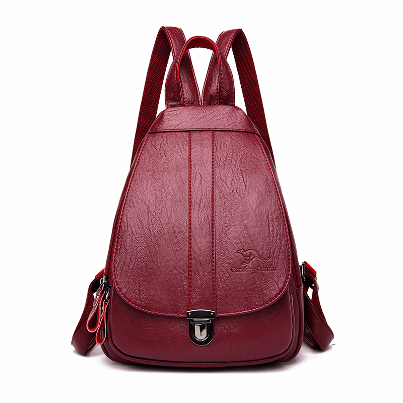 Women Leather Backpacks High Quality School Bags For Girls Sac A Dos Femme Vintage Bagpack Ladies Travel Solid Casual Daypack