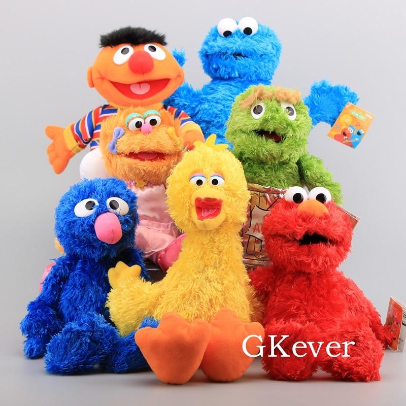 21-40cm Hand Puppet Sesame Street Plush Toys Doll Elmo Ernie Grover Oscar Zoe Bert Stuffed Puppet Toys Women Kids Party Gift