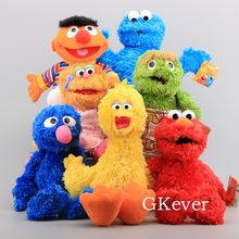 21-40cm Hand Puppet Sesame Street Plush Toys Doll Elmo Ernie Grover Oscar Zoe Bert Stuffed Puppet Toys Women Kids Party Gift(China)