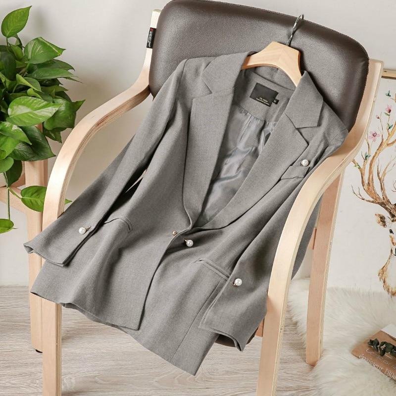 Jacket feminine high-quality blazer women 2020 Korean version of the new slim mid-length women's suit Spring and autumn coat
