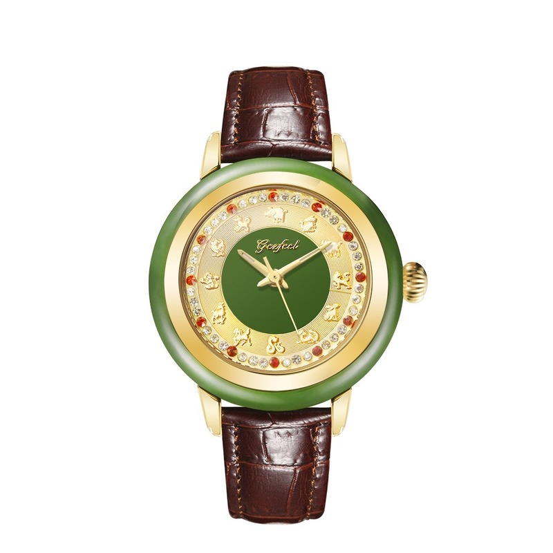 GEZFEEL Brand Jade Watch Interior Decoration 12 Kinds Of Relief Luxury Ladies Watches Waterproof Quartz Watch Relojes Para Mujer