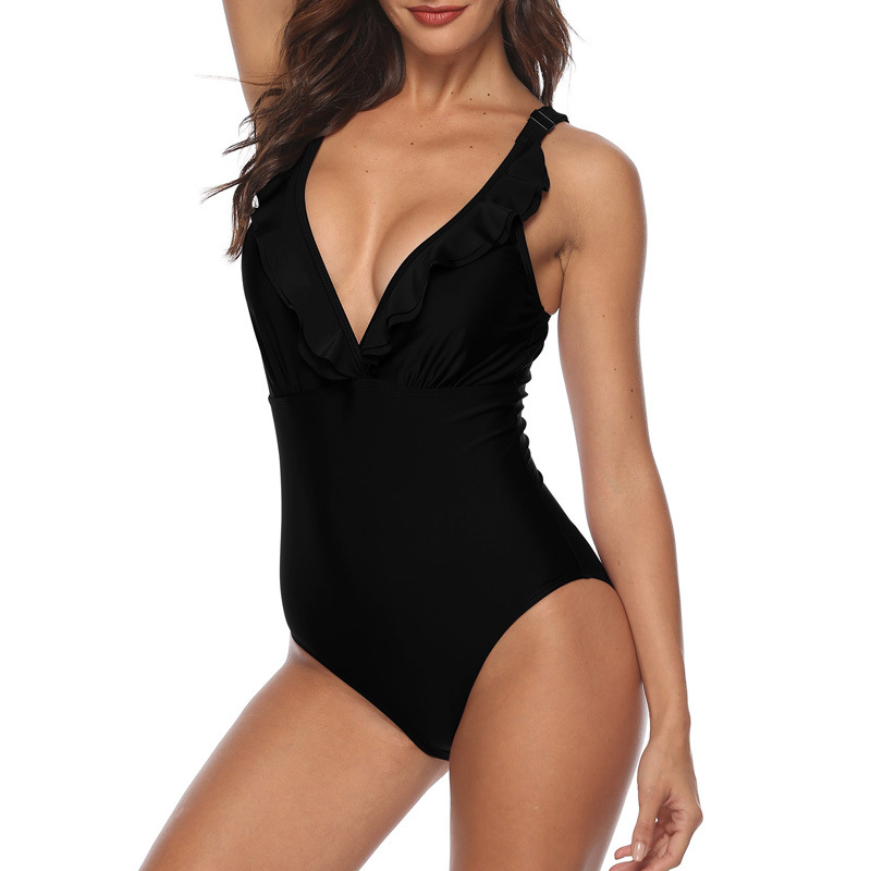 SALSPOR Women's Bodysuit Sexy V-Neck Sleeveless Adjustable Shoulder Strap Stretch Bodysuit Women Summer Beach Black Bodysuit