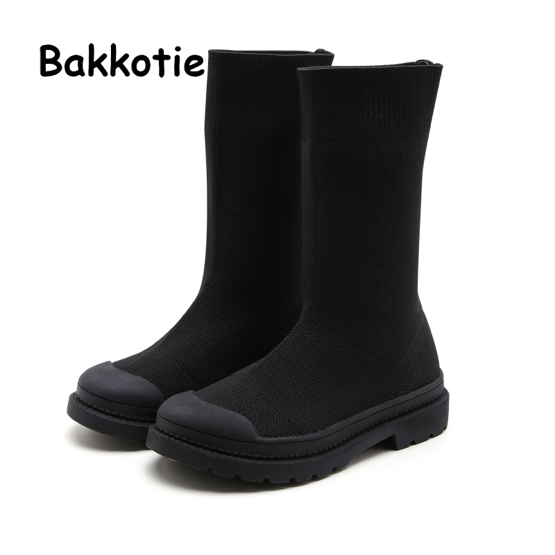 Bakkotie New 2019 Kids Black Boots Baby Girls Fashion Autumn Slip On Brand High Boots Children Breathable Casual Shoes