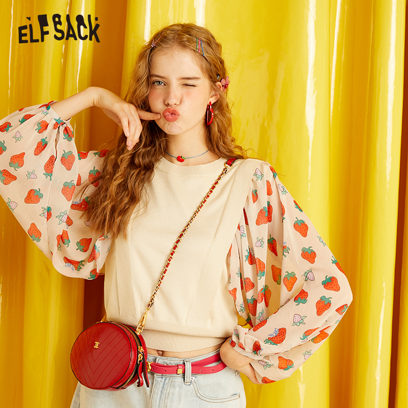 ELFSACK Sweet Patchwork Women Sweaters,2019 Autumn New Fashion Chiffon Print Female Tops O-Neck Casual Korea Beige Sweater