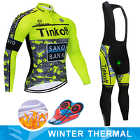 2019 Winter Saxo bank Tinkoff Thermal Fleece Cycling Jersey Ropa Ciclismo MTB Long Sleeve Keep Warm Bike Wear Bicycle Clothing