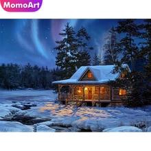 MomoArt DIY Diamond Painting Snow Scene Embroidery Patterns Cross Stitch Rhinestone Home Decor Needlework