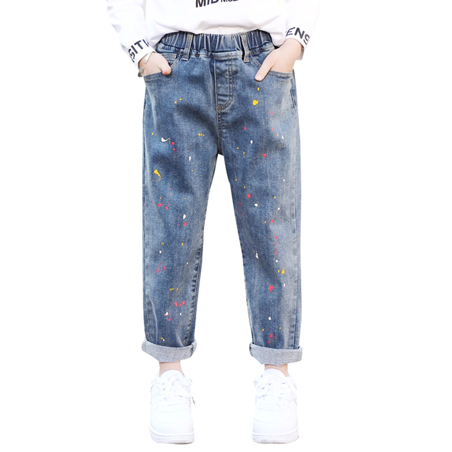 Джинсы для девочек с принтом, повседневные джинсы для девочек, одежда для девочек подростков на весну и осень, для школы 6, 8, 10, 12, 14 лет, 2020|Джинсы| | АлиЭкспресс