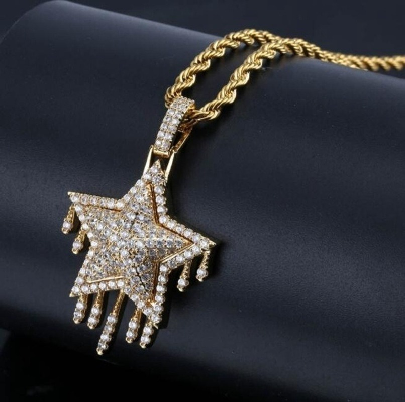 New Fashion Ladies Tassel Five-pointed Star Pendant Necklace Hip Hop Jewelry
