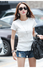 Ms white T-shirt with short sleeves round collar render unlined upper garment