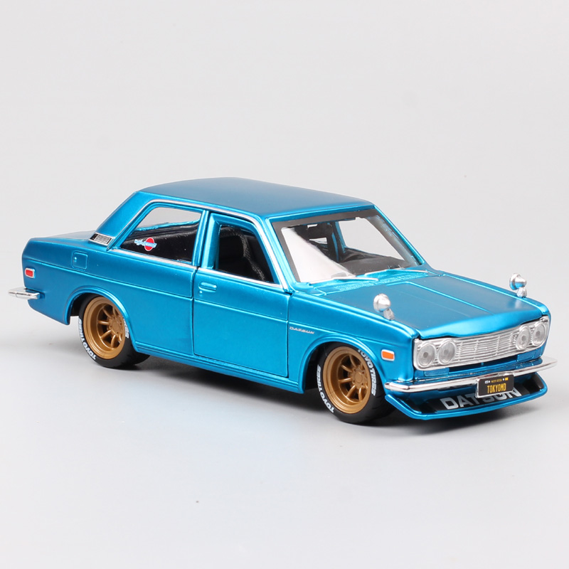 1/24 Scale Vintage Nissan Datsun 510 1600 Bluebird 1971 Tokyo Mod Deluxe Auto Metal Cars Toys Diecasts & Toy Vehicles Model Kids