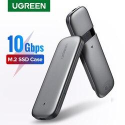 Ugreen M2 SSD Case NVME Kandang M.2 untuk USB Tipe C 3.1 SSD Adaptor untuk NVMe PCIe NGFF SATA M/B SSD Kunci Disk Kotak M.2 SSD Case