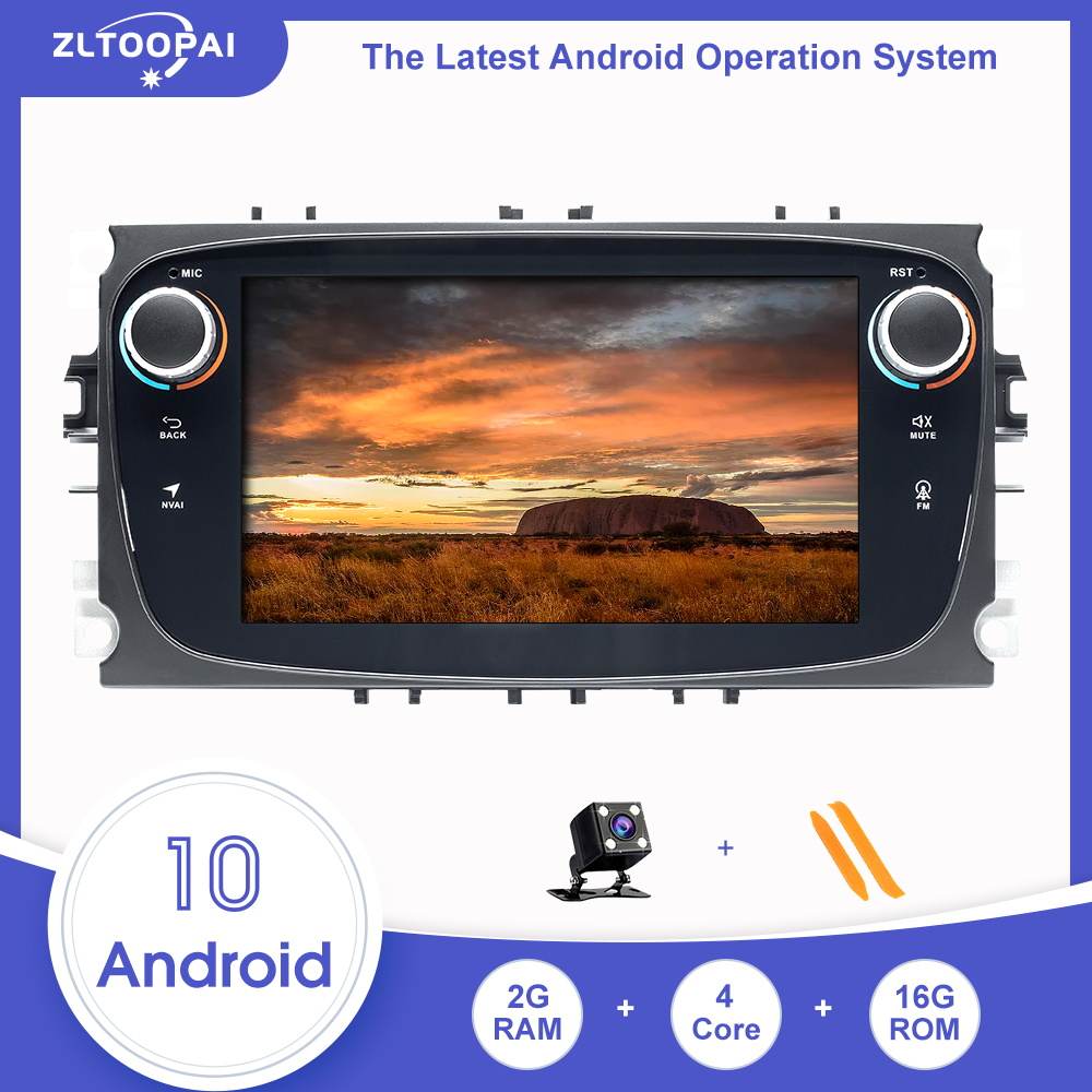 ZLTOOPAI Car Multimedia Player For <font><b>Ford</b></font> Focus 2 3 mk2 Mondeo 4 Kuga Fiesta S-<font><b>MAX</b></font> <font><b>C</b></font>-<font><b>MAX</b></font> Android 10.0 <font><b>GPS</b></font> Navigation DVD Player image