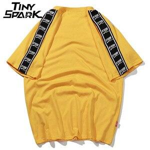 Image 2 - 2020 Summer Hip Hop T Shirts Men Harajuku Ribbon T Shirt Print Short Sleeve Stripe Tshirts Streetwear New Casual Top Tees Cotton