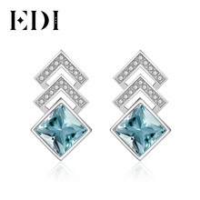 EDI Luxurious 2ct Natural Sky Blue Topaz 100% 925 Sterling Silver Drop Earrings For Women Fine Jewelry(China)