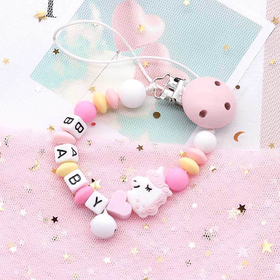 Hand-made Personalized Pacifier Chain Baby Name Custom Silicone Chain Clips Safe Soft Plastic Letters Beads Babies Teething Toys