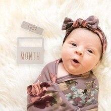 Newborn Milestone Blocks Wooden Commemorative Baby Birth Monthly Recording Cards H55B