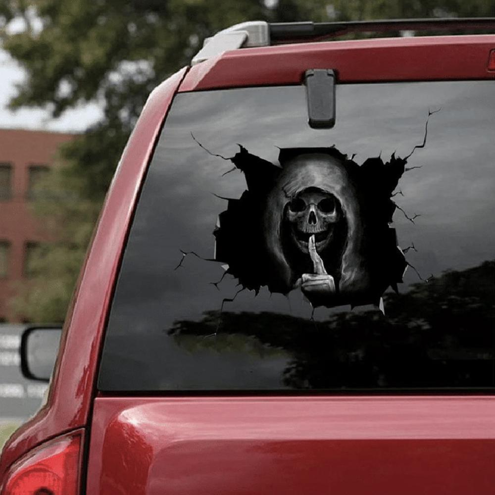 Автомобильный Стайлинг, ужасная Тихая наклейка с черепом для Toyota Tacoma Tercel Tiara Van Venza Yaris Hiace Prius V Hilux Land Cruiser Дискодержатель      АлиЭкспресс