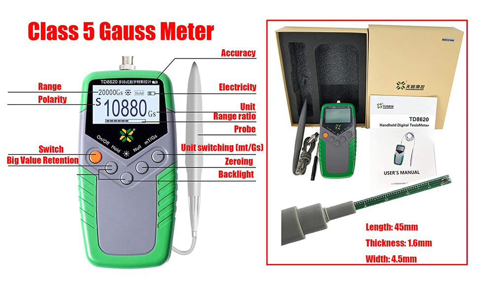 <font><b>TD8620</b></font> Permanent Magnet Gauss Meter Gaussmeter Handheld Digital Tesla Meter with Surface Magnetic Field Tester 5% Accuracy image