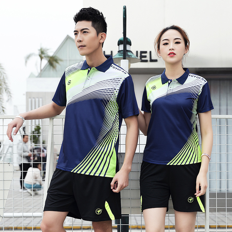 2019 Spring And Autumn Fold-down Collar Short Sleeve Table Tennis Wear Set Men And Women-Quick-Dry Sports Badminton Running Shor