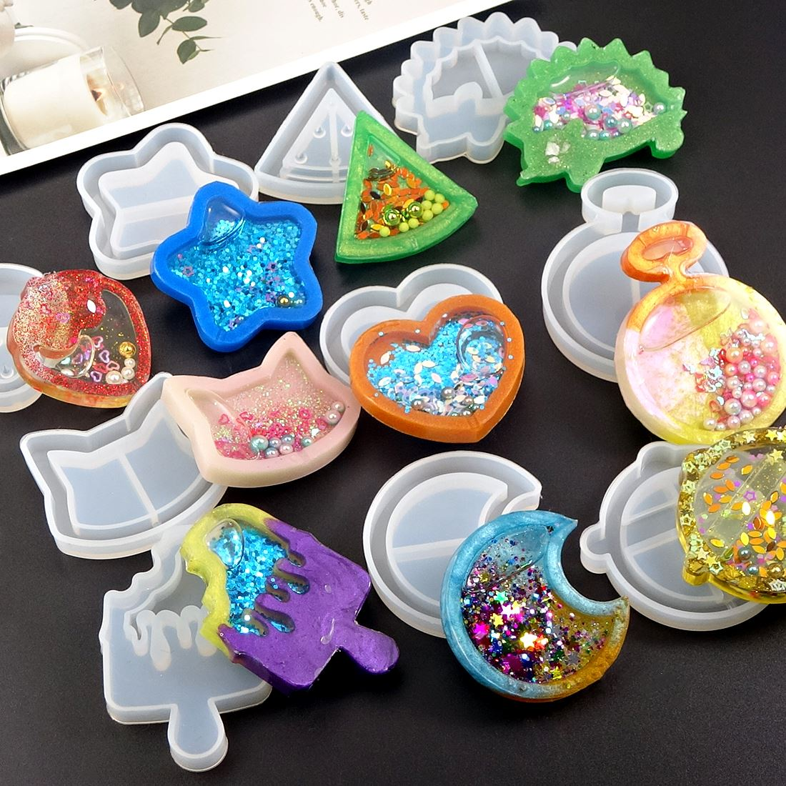 Heart Star Moon UV Epoxy Resin Moulds Silicone Resin Jewelry Making Molds Key Chain Pendant Craft Jewelry Tools Set