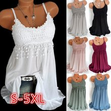 ZOGAA Summer Women Fashion Sexy Sleeveless Lace Floral Tops Shirts Plus Size 5XL Tunic Top Tee Casual Solid Ladies Long Top