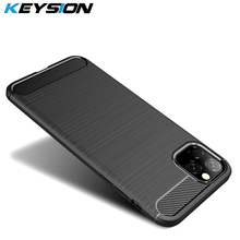 KEYSION Phone Case for For IPhone 11 Pro Max Carbon Fiber Soft TPU Shockproof Back Cover IPhone11 2019 New