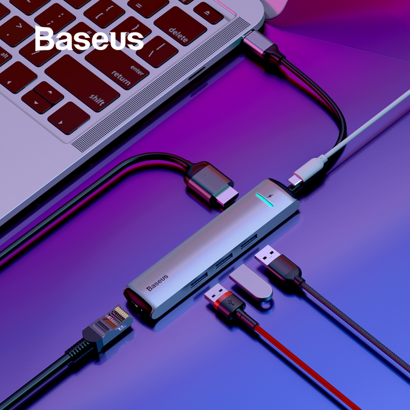 Baseus 6 Ports USB Typ C Zu 3,0 USB C HUB für MacBook Pro LED USB HUB RJ45 HDMI für samsung S8 S9 Huawei P20 Mate 20 Typ C HUB