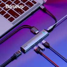 Baseus 6 Ports USB Type C To 3.0 HUB for MacBook Pro LED RJ45 HDMI Samsung S8 S9 Huawei P20 Mate 20