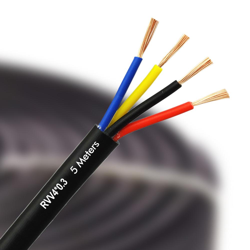VANSOALL 4-wire Video Door Phone System Extension Wire RVV4 0.3*MM2  Pure Copper Multi Core Power Cable PVC 5M  Flexible Wires