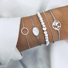 2019 Bohemian Marble Stone Beads Bracelet Set for Women Natural Tassel Map Charm Femme Jewelry