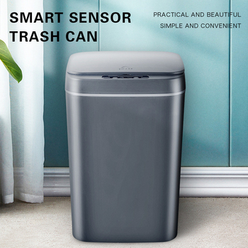 16L Intelligent Trash Can Automatic Sensor Dustbin Smart Sensor Electric Waste Bin Home Rubbish Can For Kitchen Bathroom Garbage trash cans for the kitchen bathroom wc garbage classification rubbish bin dustbin bucket press type waste bin garbage bucket