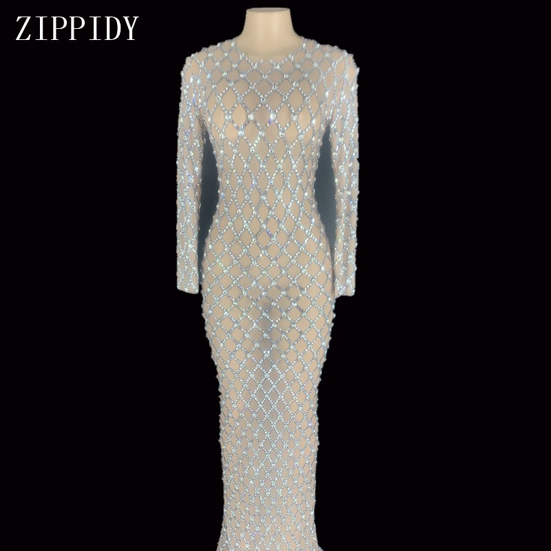Sparkly Silver Rhinestones Transparent Mesh Long Dress Women's Birthday Celebrate Outfit Prom Bar Dance Dress YOUDU