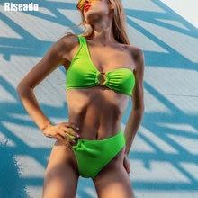 Riseado Sexy One Shoulder Bikinis Set High Waisted Swimsuit Ribbed Swimwear Women Biquini Bikini 2020 Rings Summer Beach Wear