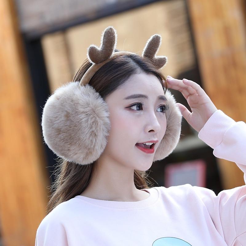 Deer Christmas Earmuffs Fur Girls Cute Elk Ear Warmers Earmuffs Winter Xmas Headband Earmuff Antlers Women Earwarmers Wool Soft