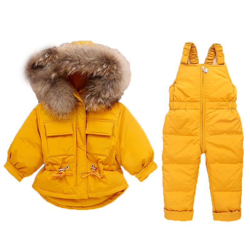 Winter Children Clothing Set Baby Boy Girl Clothes Warm Down Jacket Coat Jumpsuit Snowsuit Kids Parka Real Fur Overalls Overcoat