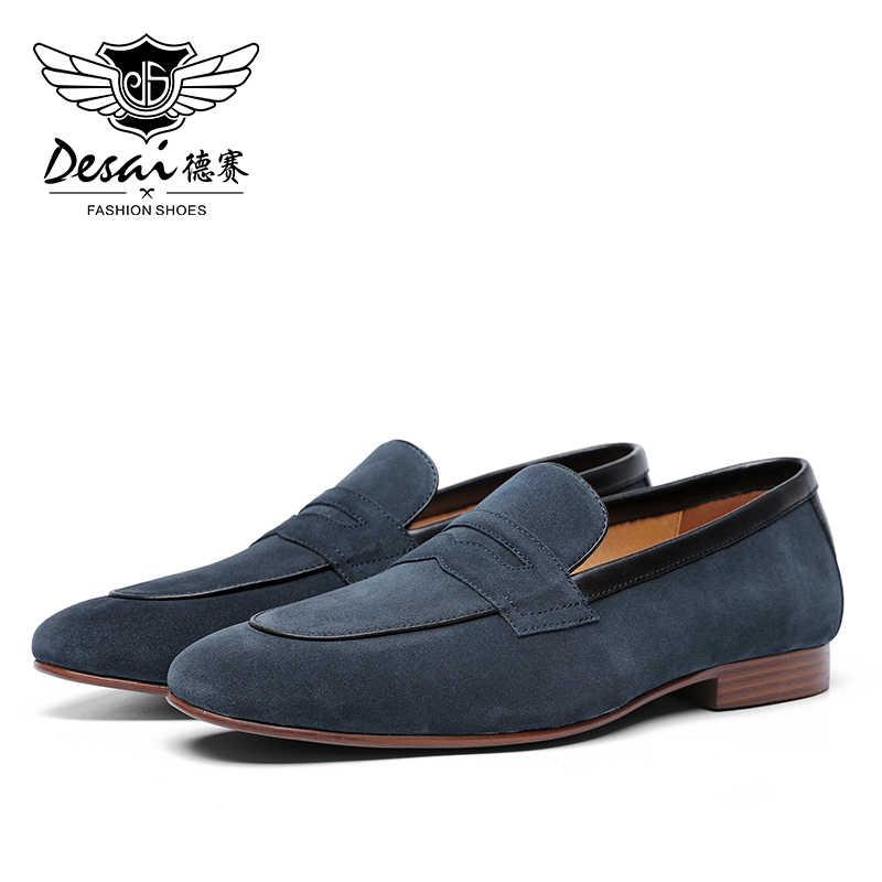 DESAI Patent deri iş el yapımı elbise loafer'lar erkek ayakkabısı 2019 için