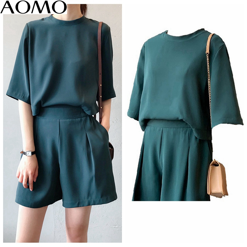 AOMO  Women Elegant Back Buttons Summer Playsuits Elastic Waist Short Sleeve Rompers Casual Chic Jumpsuits Quality ASF19A