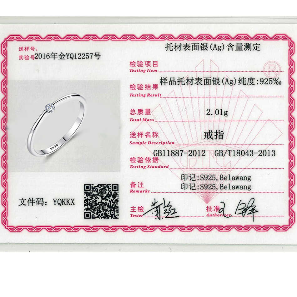 ELESHE แหวนเงินแท้ 925 รอบ Zirconia แหวนคริสตัลคริสตัลสำหรับงานแต่งงานของผู้หญิง Original เงินเครื่องประดับ