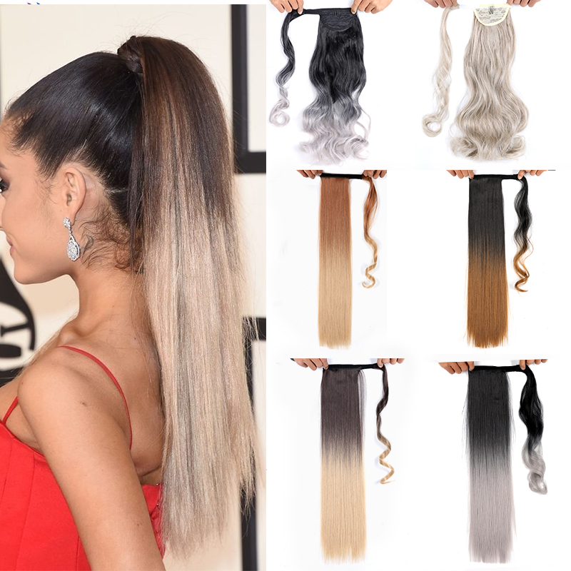 22 Inch False Hair Ponytail Ombre  Clip On Hair Long Synthetic Fake Hair Curly Pony Tail Hair Extension  Pony Fastened Msglamor