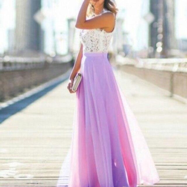 Women Long Maxi Dress Bridesmaid Lace Party Dress Fashion  Sleeveless Wedding Party Elegant Casual Wear 6