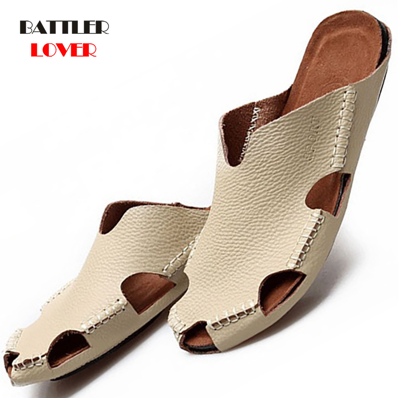 New Quality Genuine Cow Leather Non-slip Slippers Men Beach Sandals Comfortable Summer Shoes Mens Slippers Classics Flip Flops