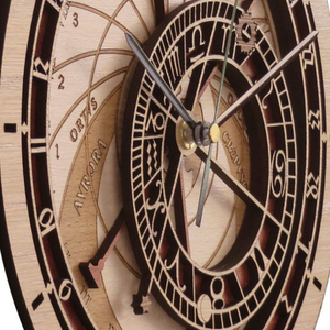 Image 5 - קיר יצירתי שעון פראג האסטרונומי עץ שעון קיר סלון שעון קוורץ שעון בית Decoratio עץ שעון קיר