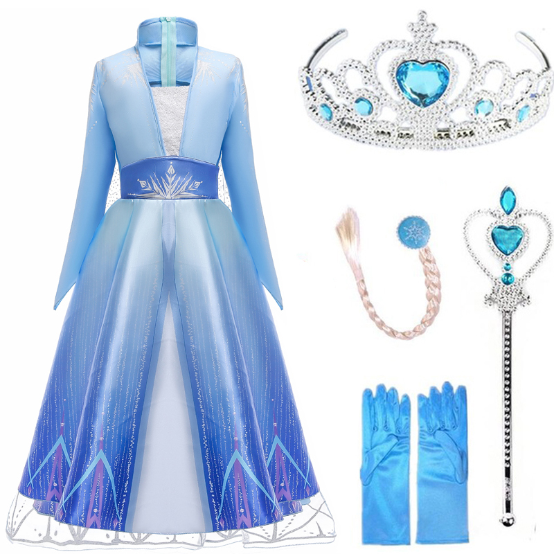 Girls Dress Elsa Dress Party Vestidos 2 Cosplay Girl Clothing Anna Snow Queen Print Birthday Princess Dress Elza Kids Costume(China)