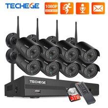 Techege 8CH cctvセキュリティシステムキット1080 1080pのhdオーディオワイヤレスnvrキット屋外ナイトビジョンセキュリティipカメラwifiプラグ & プレイ