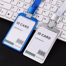 Porte-cartes en alliage d'aluminium pour femmes, porte-cartes d'identité, porte-Badge à lanière, étui en métal