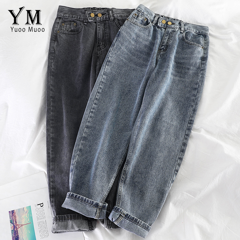 YuooMuoo New Vintage Ladies Boyfriend Jeans 2019 Mom High Waist Jeans Light Blue Denim Black Jeans Women Casual Harem Pants