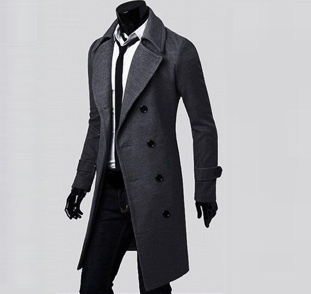 Winter Men Coat Slim Stylish Trench Double Breasted Long Jacket Parka BK/M Casual high quality Autumn Mens Tops Blouse New 7