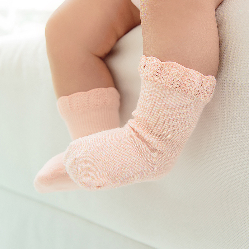 Baby Socks Children Kids Cotton Candy Colors Sock Lace Ruffle Newborn Breathable Princess Baby Girls Short Sock 0-3 Years