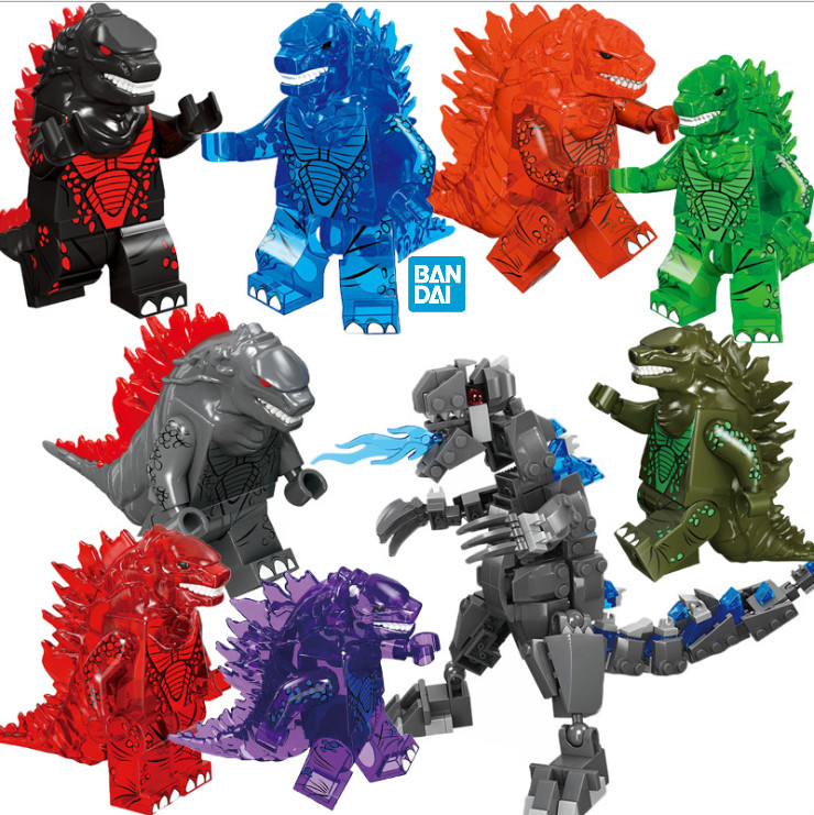 8pcs Many Godzilla Children's Puzzle Building Block Boy's Assembly Godzilla Human Intelligence Assembly Of Building Blocks Toys
